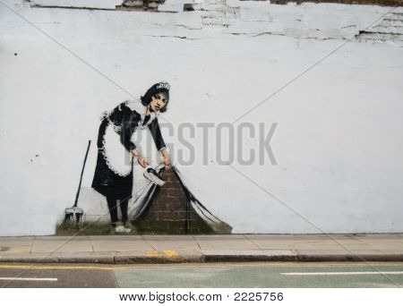 House Maid Grafitti In Street Of London