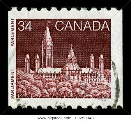 CANADA-CIRCA 1985:A stamp printed in CANADA shows image of Parliament Hill, colloquially known as The Hill, is an area of Crown land on the southern banks of the Ottawa River, Ontario, circa 1985.