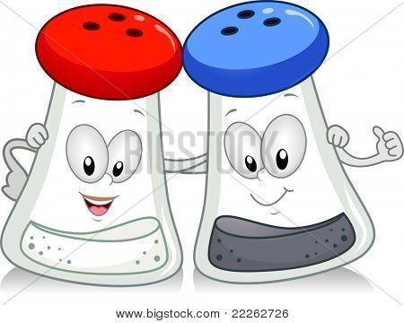 Illustration of a Salt and Pepper Shaker Hanging Out Together