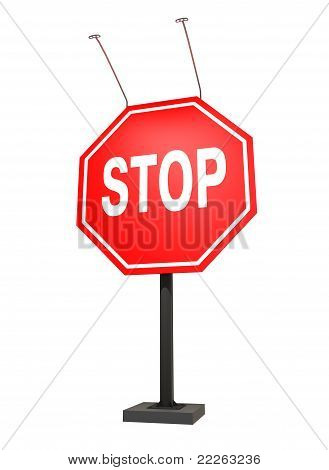 Giant Stop Sign, Isolated On White, With Clipping Path