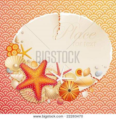 Vintage greeting card with shells and starfishes and place for text.