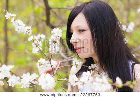 Spring blooming and girl