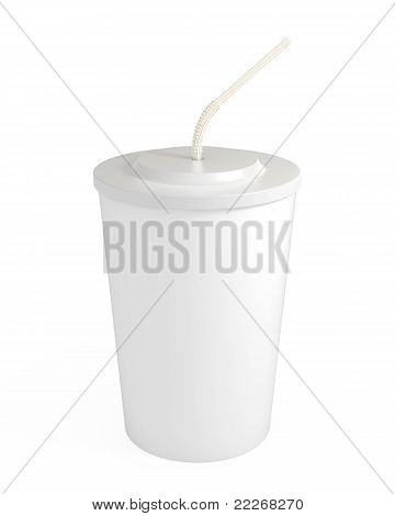 Blank White Cup With Straw, Isolated On White, With Clipping Path