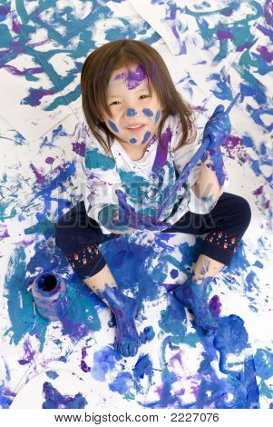 Childhood Girls Floor Painting