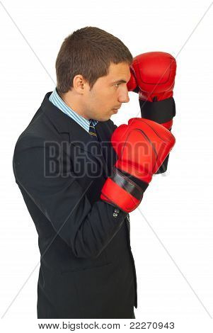 Profile Of Business Man With Boxing Gloves