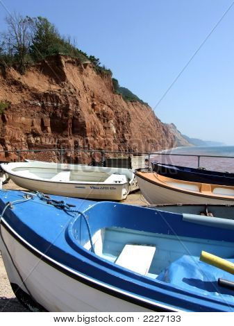 Sidmouth Boats And  Red Cliffs
