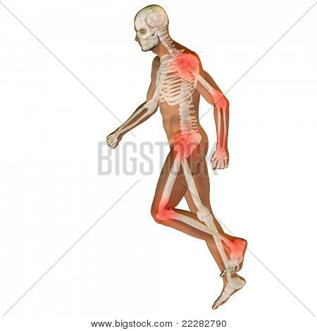 High resolution conceptual 3D human for anatomy,medicine and health designs, isolated on white background. A man made of a skeleton and a transparent body as in a x-ray with red painful hotspots