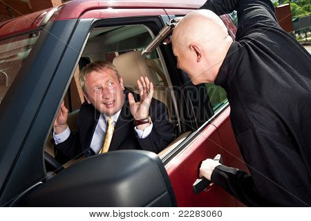 Robbery of the businessman in its car