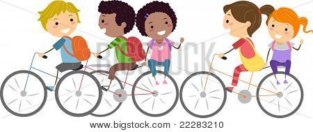 Illustration of Kids Biking to School