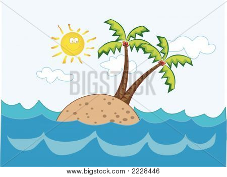 Tropical Island Cartoon (Vector)