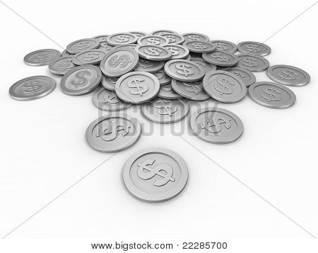 Coins with dollar signs