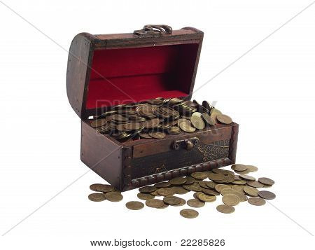 The Antiquarian  Wooden Chest  With Coins