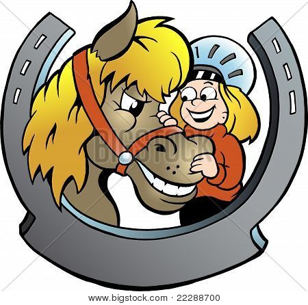 Hand-drawn Vector Illustration Of An Rider And Horse