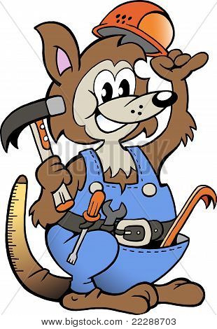 Hand-drawn Vector Illustration Of An Kangaroo Handyman