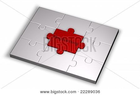 Puzzle in grey color with Marketing word highlight