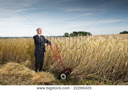 Businessman And His Lawn Mower