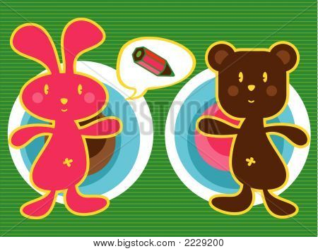 Pink Bunny And Brown Teddy (Vector)