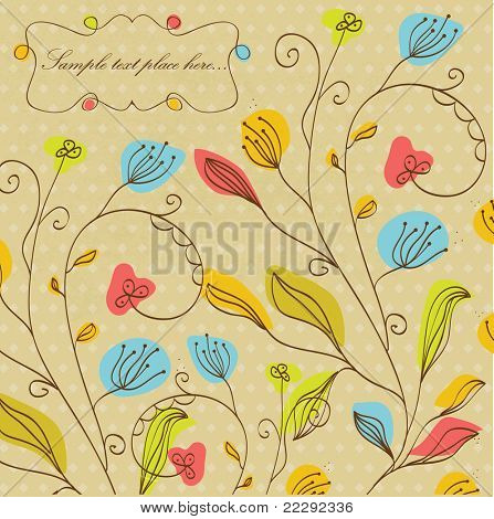 Vintage floral background with multicolored flowers