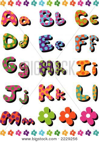 Polka Dots Fun Alphabets A To M (Vector)