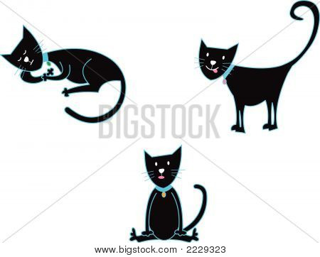 3 Black Cats (Vector)