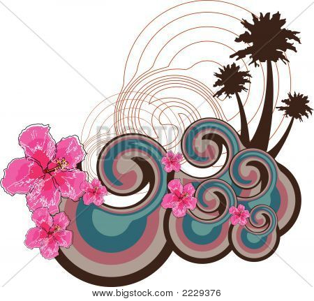 Retro Waves And Pink Hibiscus (Vector)
