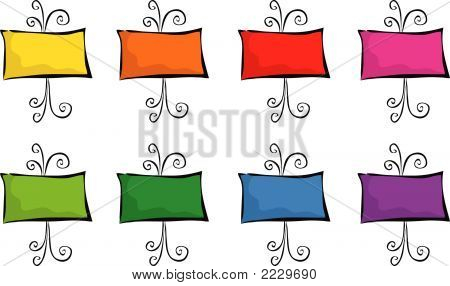8 Colorful Easels (Vector)