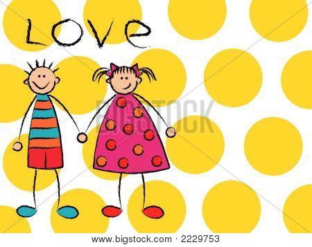 Boy + Girl = Love On Yellow (Vector) - Cartoon Illustration