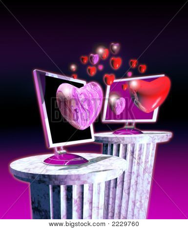 Computer Screen And Love Hearts