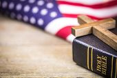 Holy Christian Cross And American Flag Background poster