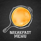 Pancake And Hand Drawn Outline Watercolor Pan, On Black Board Slate Background. Vector Design For Br poster