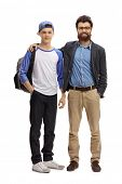 Full length portrait of a father and his teenage son isolated on white background poster