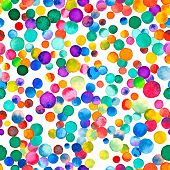 Watercolor Confetti Seamless Pattern. Hand Painted Great Circles. Watercolor Confetti Circles. Purpl poster