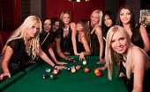 foto of hen party  - Group of happy girls playing in billiard - JPG