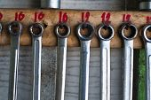Old Hand Tools Hanging On Wall In Workshop Or Auto Service Garage, Many Tool Shelf Against A Wall, C poster