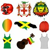 stock photo of reggae  - Vector Illustration of 9 different Jamaican icons - JPG