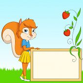 Cartoon Furry Squirrel With Board On Grass poster