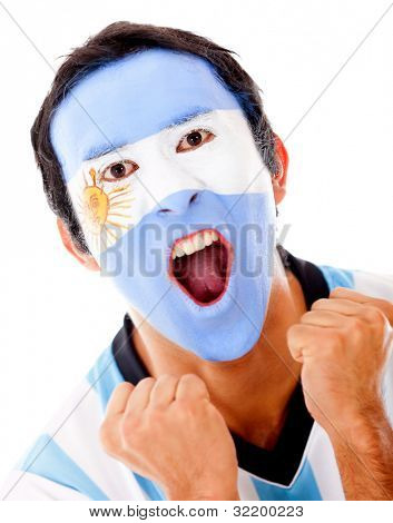 Argentinean man shouting from excitement - isolated over a white background