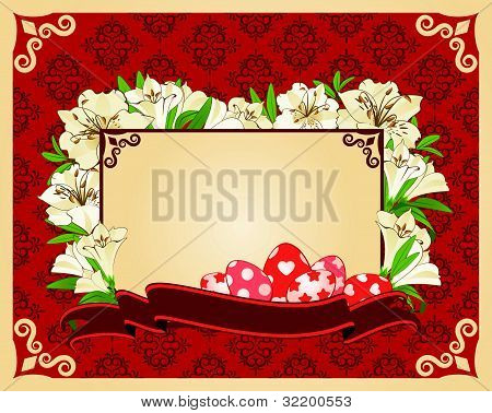 Eggs with lace decorations and flowers on the background of the vector