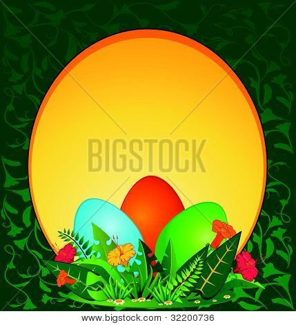 Decorative eggs against the grass and flowers vector