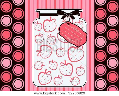 Vintage Bank with strawberry berries on the background of