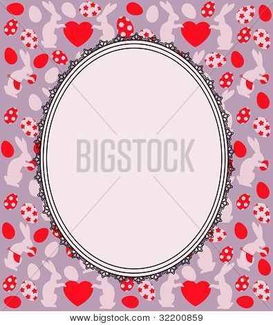 Beautiful easter card with bunny and eggs. Vector background