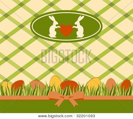 Beautiful easter card with bunny and eggs on lace background