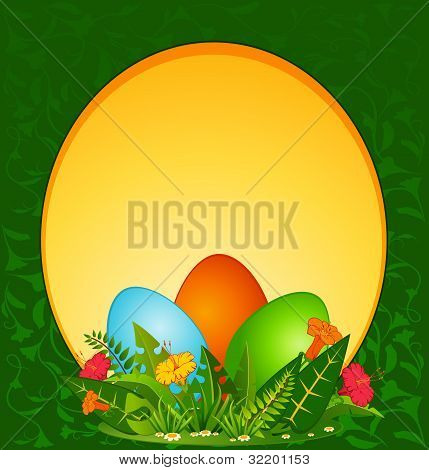 Decorative eggs against the grass and flowers