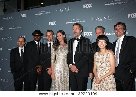 LOS ANGELES - APR 20:  P Jacobson, O Epps, J  Spencer, O  Annable, Hugh Laurie, D Shore, C Yi, RS Leonard arrive at the House Series Finale Wrap Party at Cicada on April 20, 2012 in Los Angeles, CA