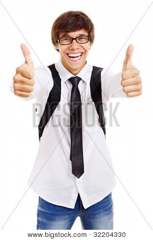 Funny latin college student with glasses and bag showing thumb up by both hands. Isolated on white background, mask included