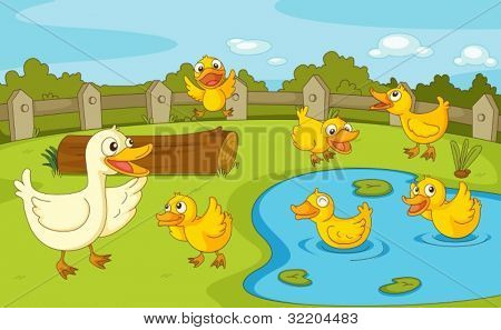 IIllustration of a family of ducks at the pond