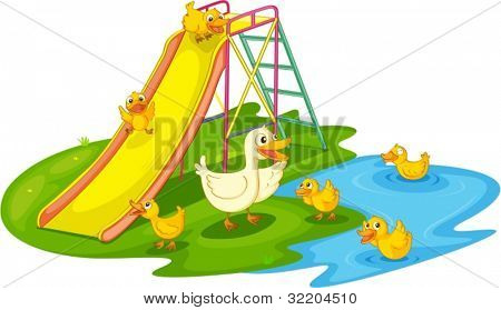 IIllustration of a family of ducks at the park