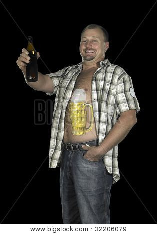 Man With Belly And Beer