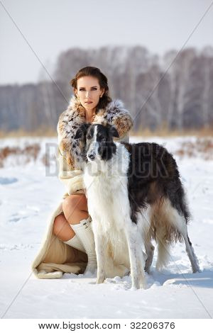 Woman With Borzoi Outdoors