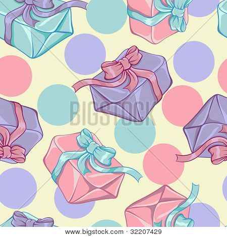 Seamless pattern with gift boxes. Vector texture.